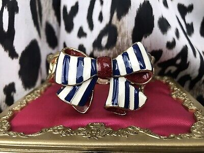 Betsey Johnson Vintage Yacht Club Striped Red White & Blue Ribbon Bow Bracelet