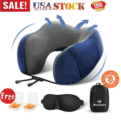 Inflatable U Shaped Neck Support Travel Pillow Cushion Air Plane Sleep Mask Kit