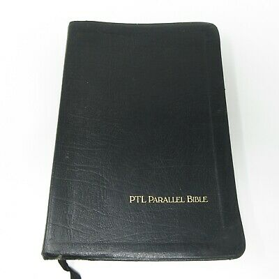 Holy Bible PTL Parallel Edition Black Leather KJV Old New Testament 1983