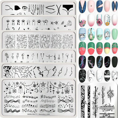 BORN PRETTY Nail Art Image Template Geometric Zipper Flower Nail Stamping Plates