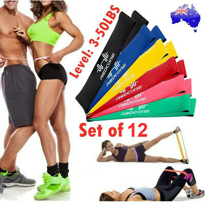 12x Strength Band Power Resistance Loop Bands Training Exercise Gym Yoga Fitness