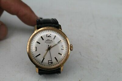 Antique Vintage Old Swiss Made ALBION Gold Plated Watch 17Jewels Antimagnetic