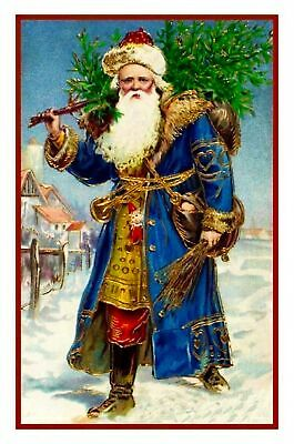 Vintage Christmas Holiday Santa Claus # 505 Counted Cross Stitch Pattern