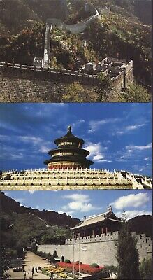 CHINA POSTCARDS x 3 including 2 Postal Used GREAT WALL 2 VIEWS TEMPLE HEAVEN