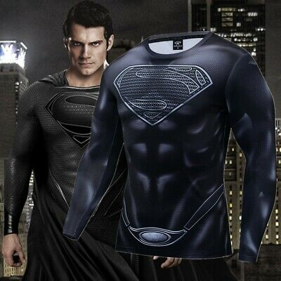 Men's Jersey Superman 3D Printed T-shirts Compression Sports Gym Fitness Tops