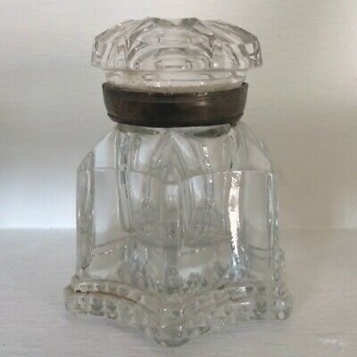 Large Antique Ink Well, English, Crystal Glass, Desk, Mid 19th Century, c.1850