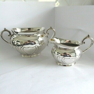 Antique Repousse Fluted Silver Plate Sugar Bowl Cream Jug -  Summer Strawberries