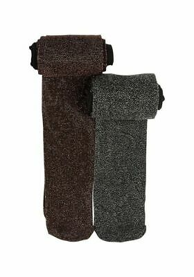 New Girls 2 Pair Pack of Sparkle glittery Black & brown Tights. Age 3-4 years