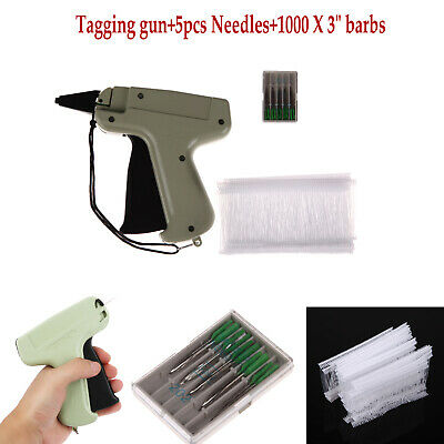 "Clothes Garment Price Label Tagging Tag Gun 3"" 1000 Hook Barbs + 5 Needles Tool"