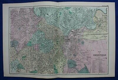 PLAN OF SHEFFIELD, antique atlas map / city plan, George Bacon, 1895