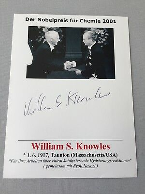 WILLIAM KNOWLES †2012 Nobel Prize Chemistry 2001 signed photograph 4.4 x 5.8