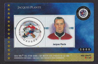 Canada  # 1838f     NHL ALL STARS    Jacques Plante    2000  HOCKEY CARD & STAMP
