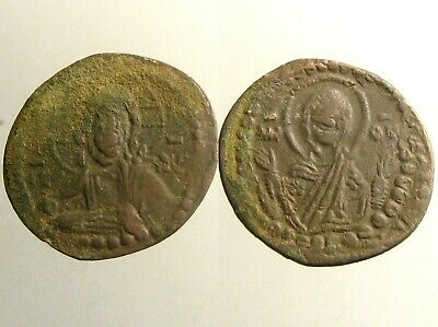 LARGE ROMANUS IV -ANONYMOUS AE FOLLIS__Bust of Christ & Virgin__BYZANTINE EMPIRE