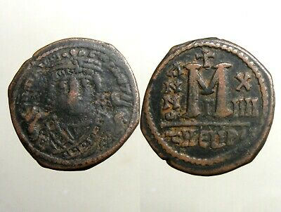 MAURICE TIBERIUS BRONZE AE28 FOLLIS___Byzantine Empire___SUCCESSFUL GENERAL