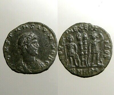 CONSTANS BRONZE AE4___Youngest Son of Constantine the Great___2 SOLDIERS