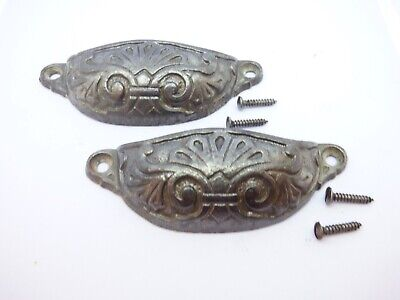 Two original vintage old antique cast iron cup drawer pull handle (FH113)