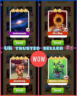 mix pack of 8 Coin master card's/lettuce/Armstrong/fire Ring/Andromeda  🇬🇧🇬🇧