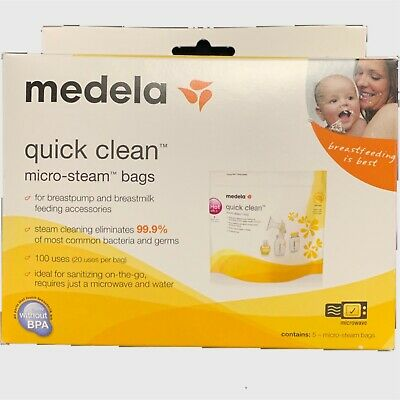 MEDELA QUICK CLEAN MICRO STEAM BAGS 5 BAGS/BOX #87024NA Sterilizing Baby Bottle