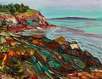 Original Monhegan Island Seascape, Headlands from Whitehead, Oil, Maine Art.
