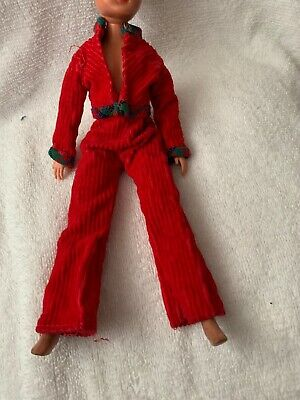 VINTAGE SINDY DOLL's RED CORD SUIT JACKET FLARED TROUSERS 1970's