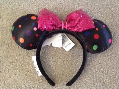 Disney Parks Minnie Mouse Multi-Color Polka Dot Ear Sequin Bow Headband NEW TAGS