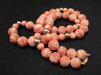 "ANTIQUE CHINESE HANDCARVED NATURAL CORAL BEAD & 14K GOLD NECKLACE 25"" 106 gms"