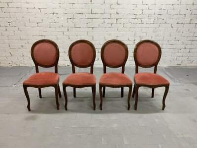 Set of 4 French Vintage Louis XV Style Brick Red Medallion Dining Chairs