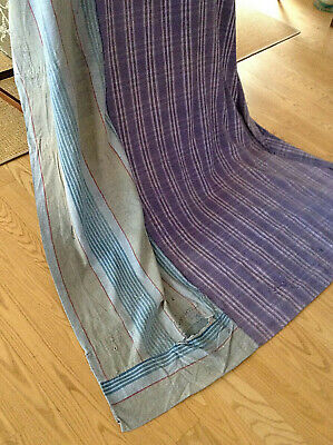 Wonderful Antique French Rustic Curtain Panel Blue ticking Periwinkle Plaid
