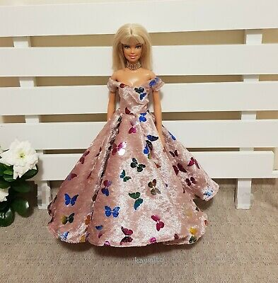 New butterfly printed velvet dress gown & shoes for  your  Barbie Doll Au Made