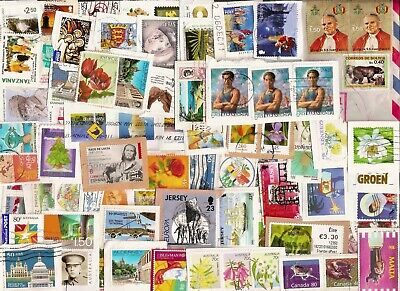 350 World Stamps on paper from unpicked UK Charity Kiloware - see four scans!