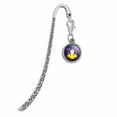 Peep A Boo Ghost Halloween Metal Bookmark Page Marker with Charm