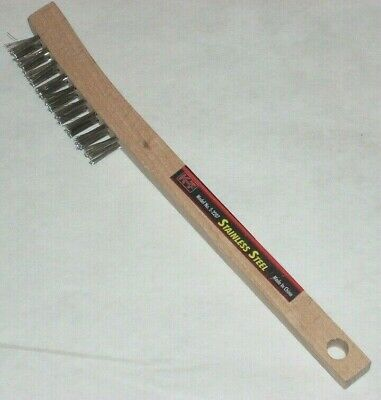 """KT Industries 5-2207 Stainless Steel Cleaning Wire Brush Wood Handle 8 3/4"""" Long"""