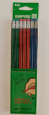 Vintage NOS Empire Pencil Pack of 7 Made in USA Berol Green Red Blue