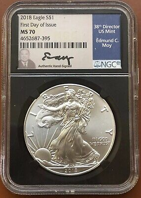 2018 American Silver Eagle First Day NGC MS-70 MS70 Edmund Moy - TCC