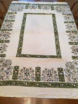 """Vintage Cotton Tablecloth Olive Green Black  Americana 52"""" by 54"""""""