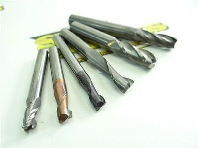 """Lot Of 6 Solid Carbide End Mills 13/64"""" To 3/8"""" Accupro Data Flute Usa"""