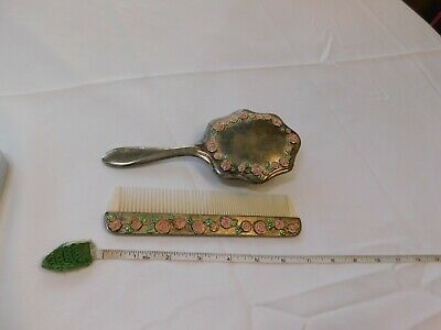 Vintage silver brush vanity set comb roses hand held rose antique pre owned used