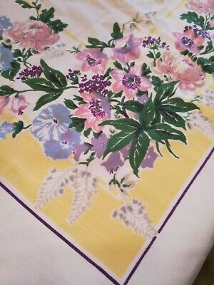 """Vintage Cotton Tablecloth  Spring Floral Size 46"""" by 52"""""""