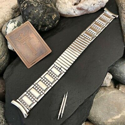 rare Speidel USA 10k White Gold-Filled Premium nos 1950s Vintage Watch Band