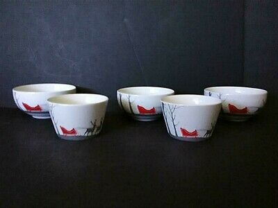 5 222 Fifth Christmas RED SLEIGH Bowls Lot of 5