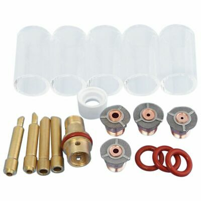 2X(1 Set 18 Pcs Tig Welding Torch Collet Body Pyrex Cup Accessories For WP-17/ C