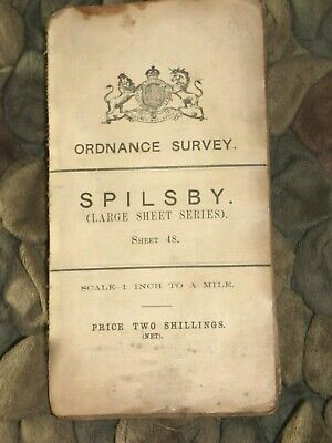 1911 ORDNANCE SURVEY THIRD SERIES SHEET MAP No 48 SPILSBY. LINEN BACKED