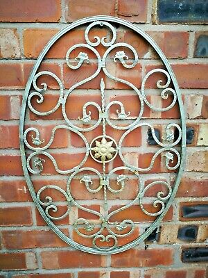 Garden Metal Ornament, Oval Wall Decoration , Hand Made  71 X 39 Cm