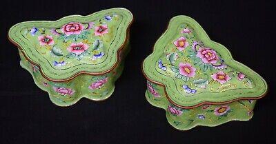 Pair of Chinese Canton Enamel Covered Trinket Boxes, 1st qtr. 20th Century
