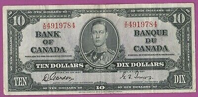 1937 Bank Of Canada 10 Dollar Bill- Gordon/ Towers- Flat and Crisp- Fairly Clean