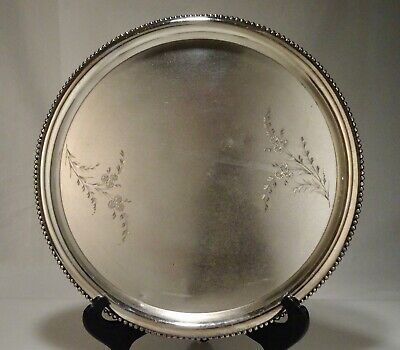 Antique James Tufts Silver Plated Aesthetic Round Beaded Edge Tray  - 56730