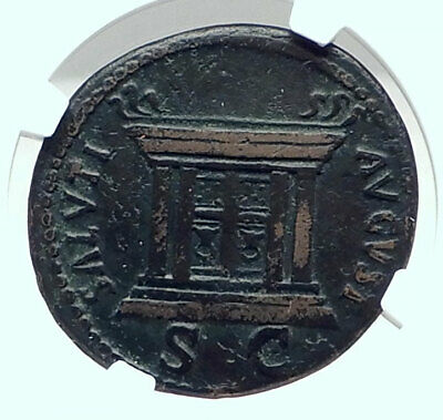 DOMITIAN Authentic Ancient 84AD Rome Genuine Antique Roman Coin ALTAR NGC i79218