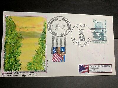 USS BOXER LPH-4 Naval Cover 1963 MORRISSEY HAND PAINTED Cachet Aircraft Carrier