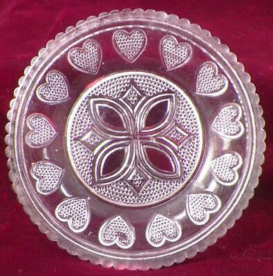 Antique Sandwich Glass Cup Plate 13 Hearts 460s LR 66 Scallops Clear Stippled