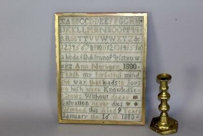 """A Rare Signed & Dated 1800 Needlework Sampler """"Ann Norbury 1800"""" In Great Colots"""